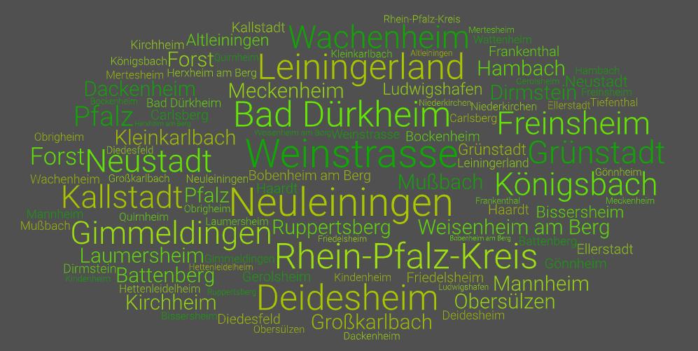 Wortwolke Weinstrasse Leiningerland Bad Dürkheim Neuleiningen Neustadt und weiteren Ortsnamen